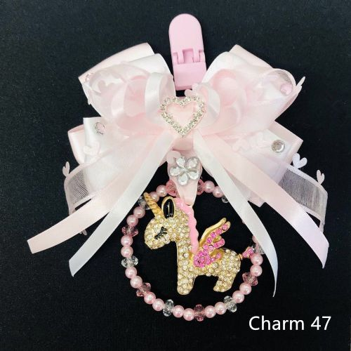 Stunning Hand Craft Pram Charm/White Pink Ribbon/ Unicorn